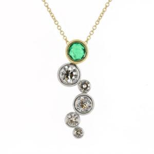 emerald & dia drop pwndant