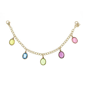 Gemstone droplet bracelet