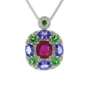 Multi-gemstone-&-Dia-Pendant