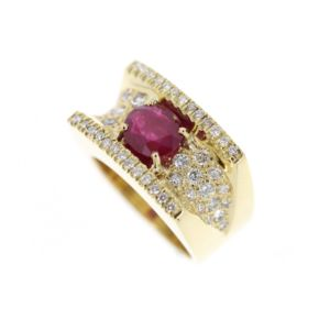 Wide Ruby & Dia Ring