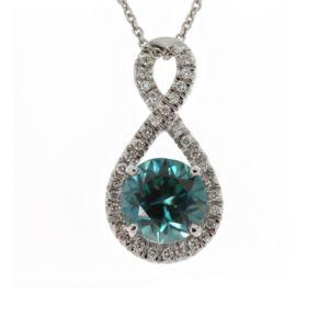 Blue Zircon & Dia pendant